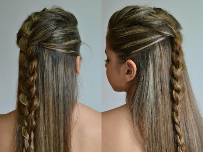 coiffure viking, coloration brune avec mèches blondes, cheveux raides, tresse en arrière