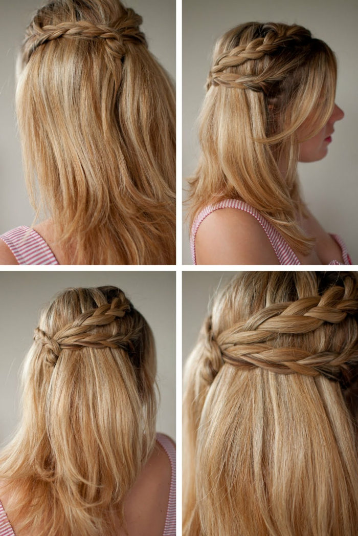 coupe tresse, cheveux mi-longs, coiffure blonde, lèvres rose, débardeur rayé en blanc et rose