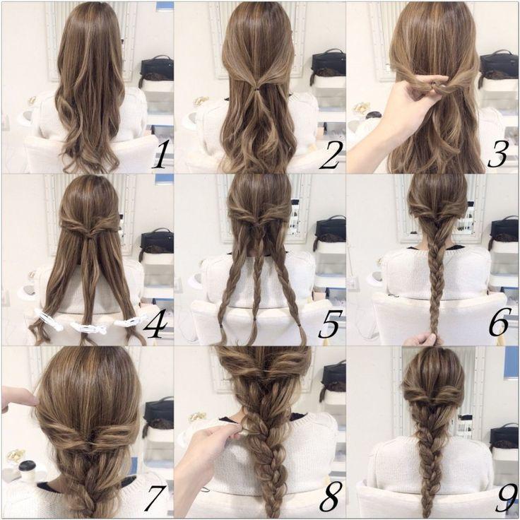 tuto comment faire une tresse bohème à partir de trois tresses classiques plus petites, ciffure femme élégante, look princesse, cheveux longs