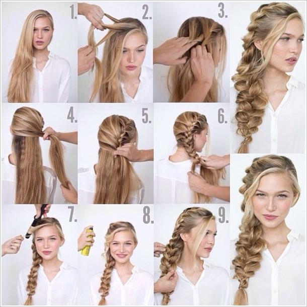 tuto coiffure tresse étape par étape pour faire une tresse bohème, volumineux, blonde, cheveux longs, tresse sur le coté