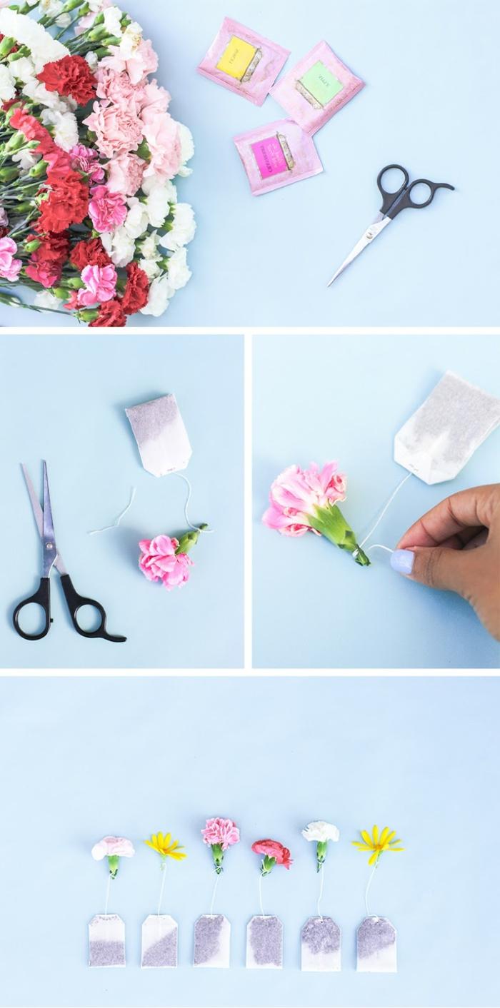 des sachets de thé avec des fleurs fraîches accrochées au bout, idee fete des meres, cadeau a faire soi meme