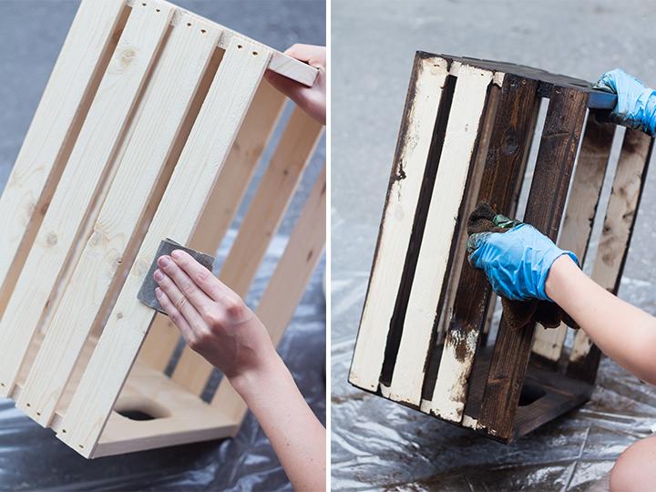 etagere cagette tutoriel, premier étape polir les caisses en bois à l aide de papier de verre et appliquer de la teinture pour bois