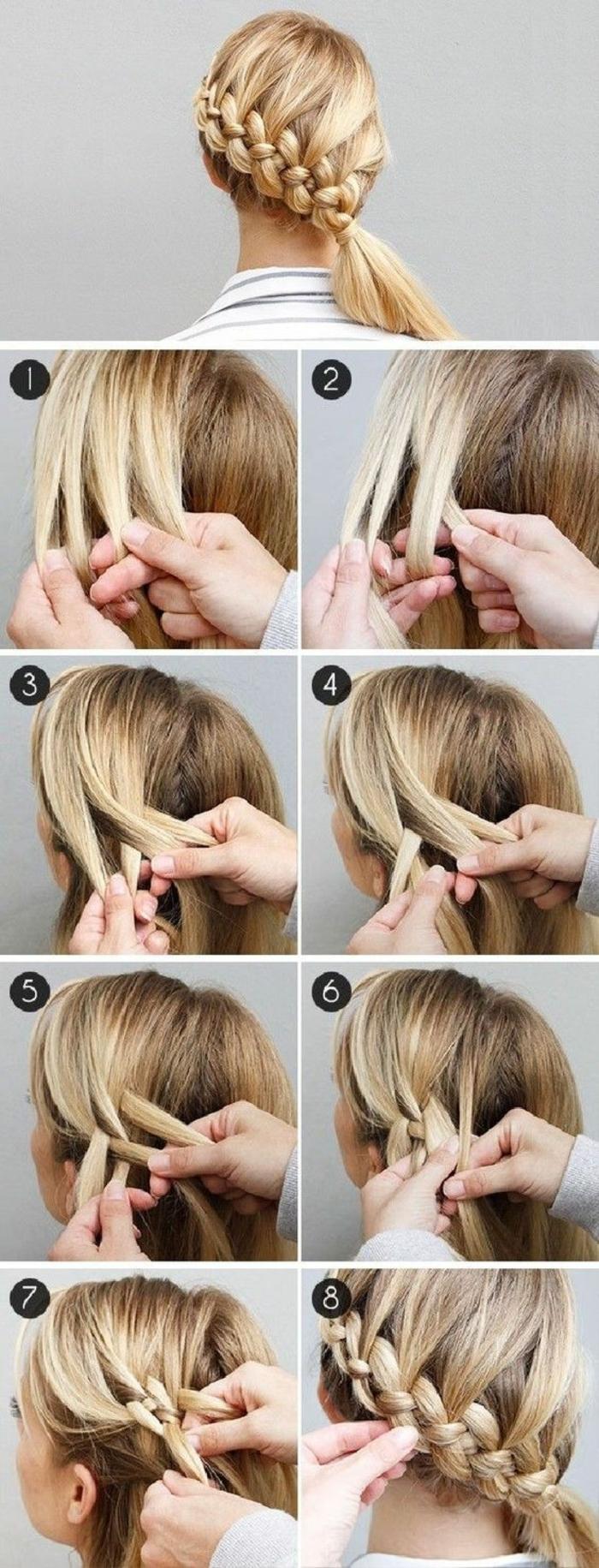 tutoriel tresse à quatre brins asymétriques, réalisation étape par étape, comment faire une tresse tutoriel
