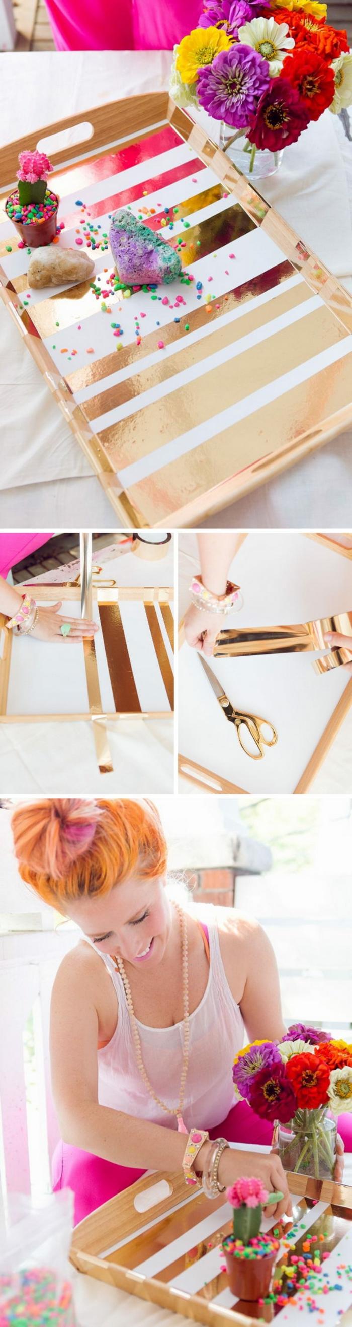 cadeau fete des meres diy, plateau en bois customisé avec des bandes de ruban adhésif doré, bricolage fete des meres