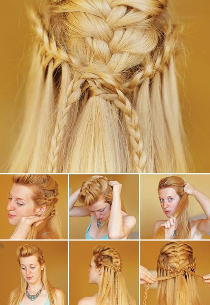 coiffure viking, tutoriel pour réaliser une tresse, cheveux raides, coloration blonde