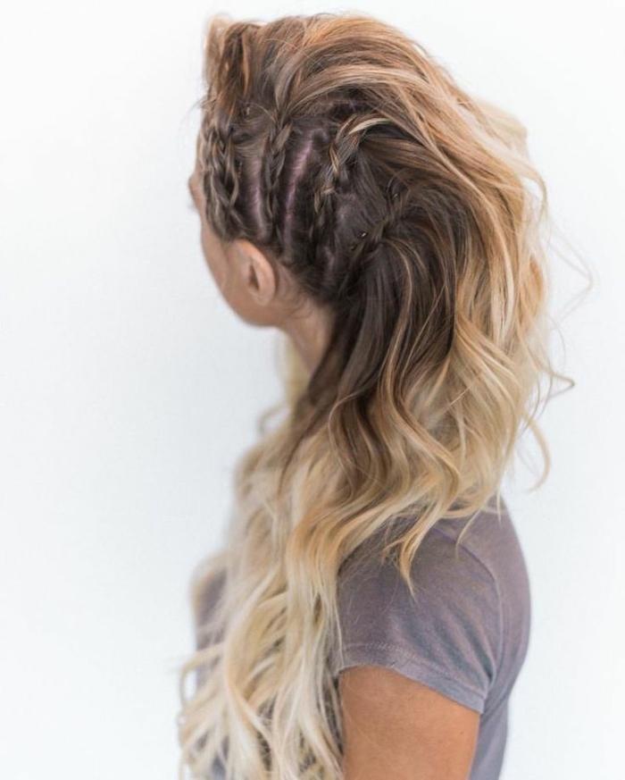 lagertha, coiffure viking, inspiration katheryn winnick, cheveux blonds, tresses sur les côtés