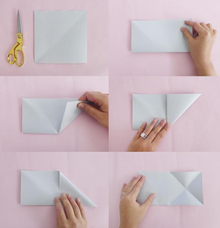 des instructions dtailles de pliage papier pour faire une toile origami - Comment Faire Une Guirlande De Noel En Papier