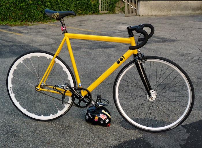 pignon fixe velos fixi velo hipster jaune d01 cadre piste profilé