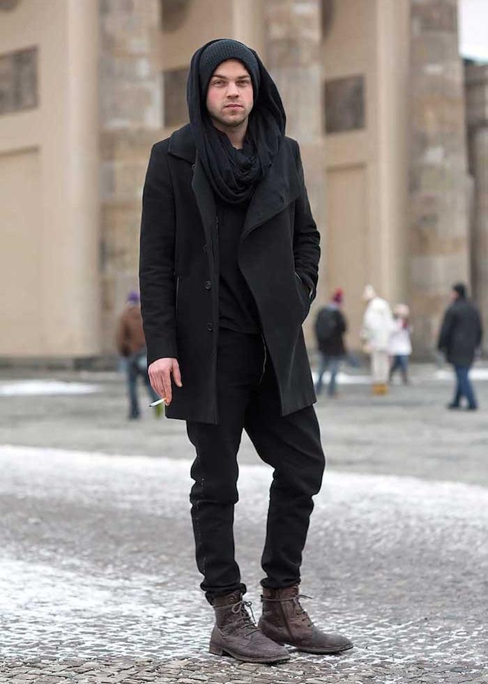 tenue grunge mode homme vetement rock ville classe hispter grande echarpe  duffle coat