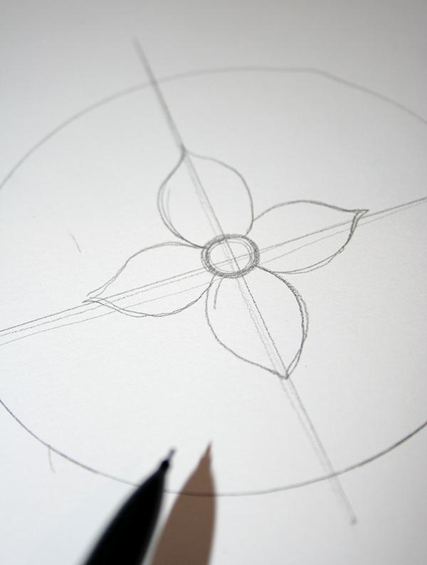 dessiner une fleur à pétales symétriques, idée activité créative adulte, les astuces pour faire dessin mandala à colorier