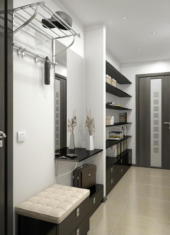 deco hall entree en gris, blanc et taupe avec des étagères pour le rangement des affaires