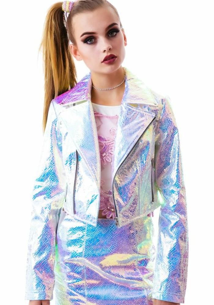 look années 80 ensemble de jupe et veste aux revers larges aux reflets irisés métalliques