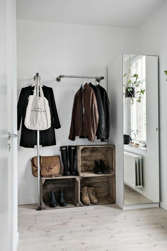 association de couleur avec le gris, porte manteau diy style rustique industriel