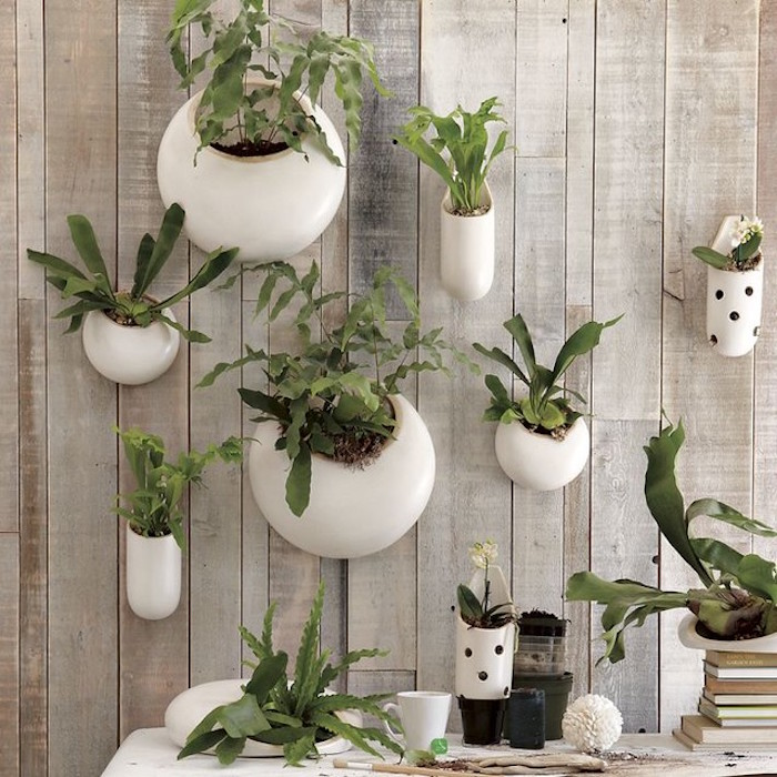 pots de fleurs design suspendus style mur végétal jardinière moderne