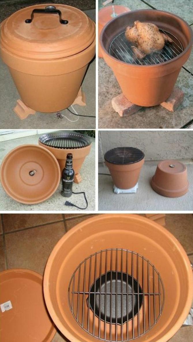 comment fabriquer un barbece dans un pot en terre cuite, grillage, cadeau fête de spères diy faicle à faire soi meme