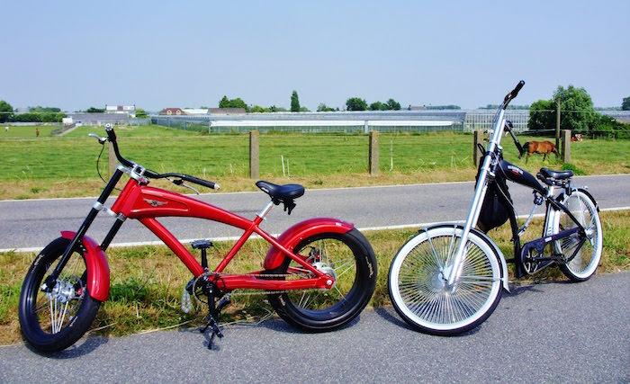 velo californien chopper bike style moto américaine vintage harley grande fourche