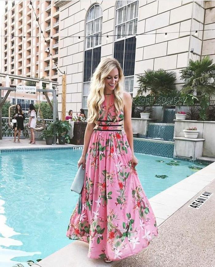 Habillée tenue de soiree femme tenue robe rose fleurie robe longue printemps stylée