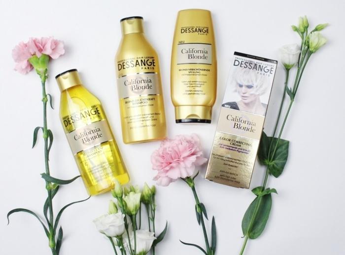 couleur blonde, produits pour décoloration, fleurs rose, Dessange California Blonde, blond californien, cosmétique cheveux