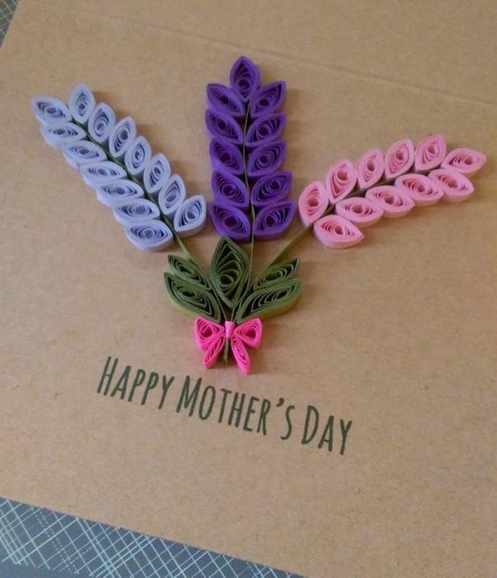 bonne fete des meres, bouquet de hyacinthes fabriqué avec du papier quilling