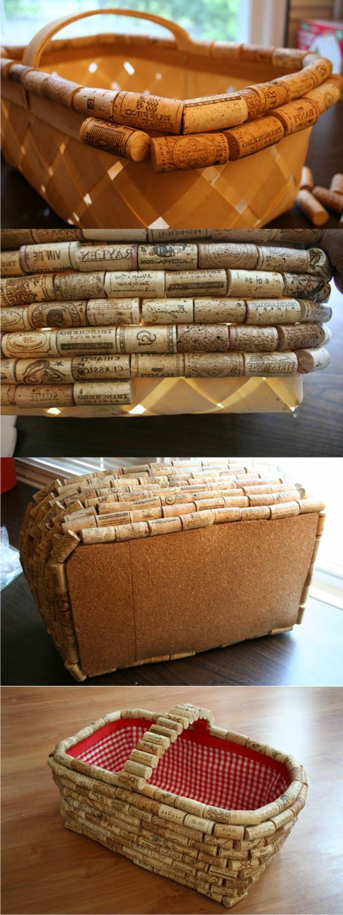 bouchon liege, corbeille emballée en bouchons de liege, objets handcraft