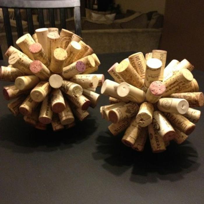 bricolage avec bouchon de liège, boules décoratives à faire soi-même