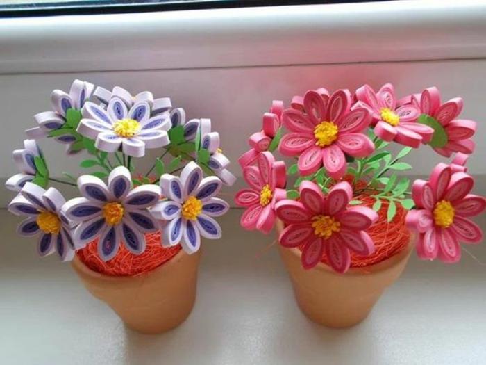 bricolage fête des mères, pots de fleurs avec bouquets en papier quilling
