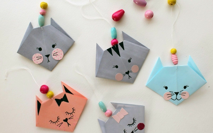 pliage papier origami facile, comment faire un chat en origami