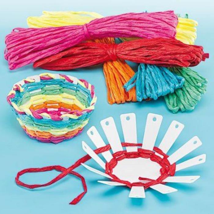 cadeau fête des mères, panier diy à faire soi-même avec des fils en papier