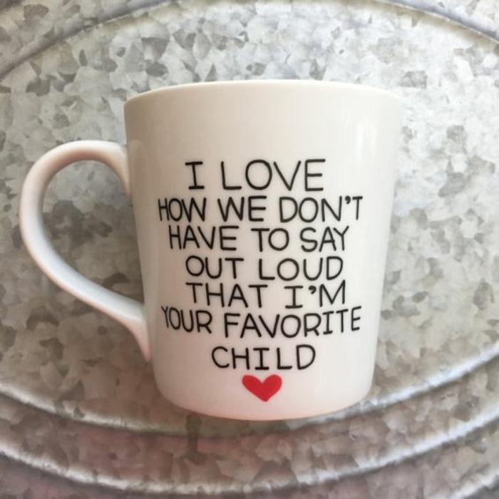 cadeau fête des mère, tasse à café blanche avec script personnaisé