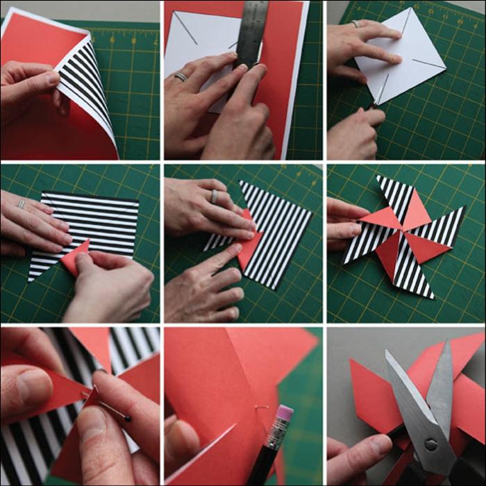un tuto moulin à vent rouge et rayé facile à réaliser, activité manuelle amusante pour enfants