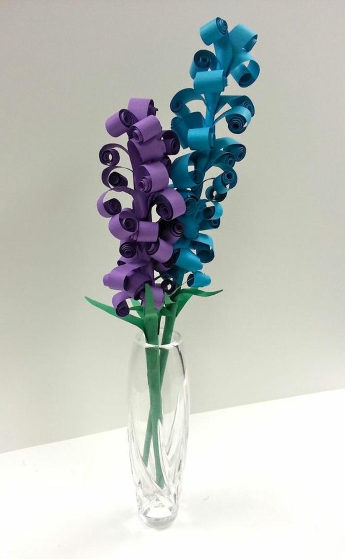 cadeau pour la fête des mères a fabriquer, hyacinthes en papier quilling