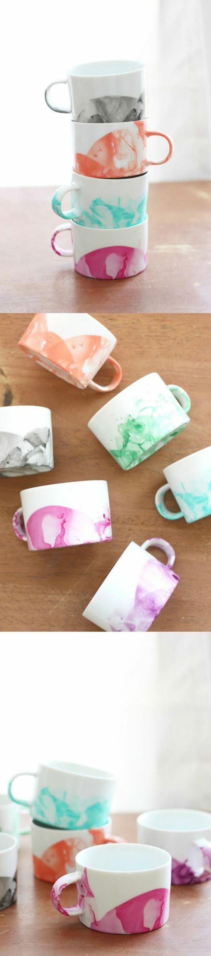 cadeau pour la fête des mères a fabriquer, tasses à café décorées avec de l'eau et du vernis
