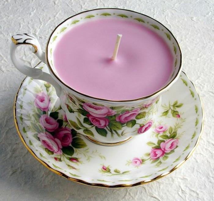 cadeau pour la fête des mères tasse de porcelaine transformée en bougeoir
