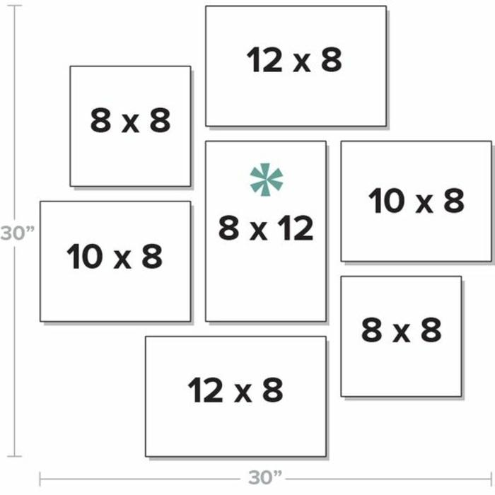 cadre rectangulaire, dimensions de cadre photo, modèle comment arranger les photos