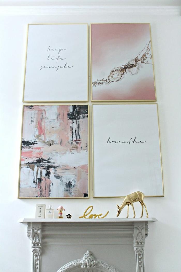 mur de cadres, design blanc, cheminée décorative grise, cadres dorés, image rose, statuette cerf