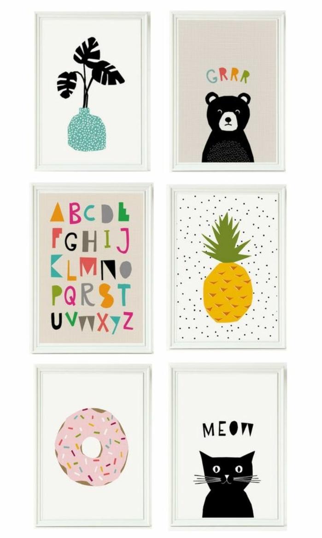 mur de cadres, dessin à imprimer, donut, chat avec moustaches longues, cadre photo blanc