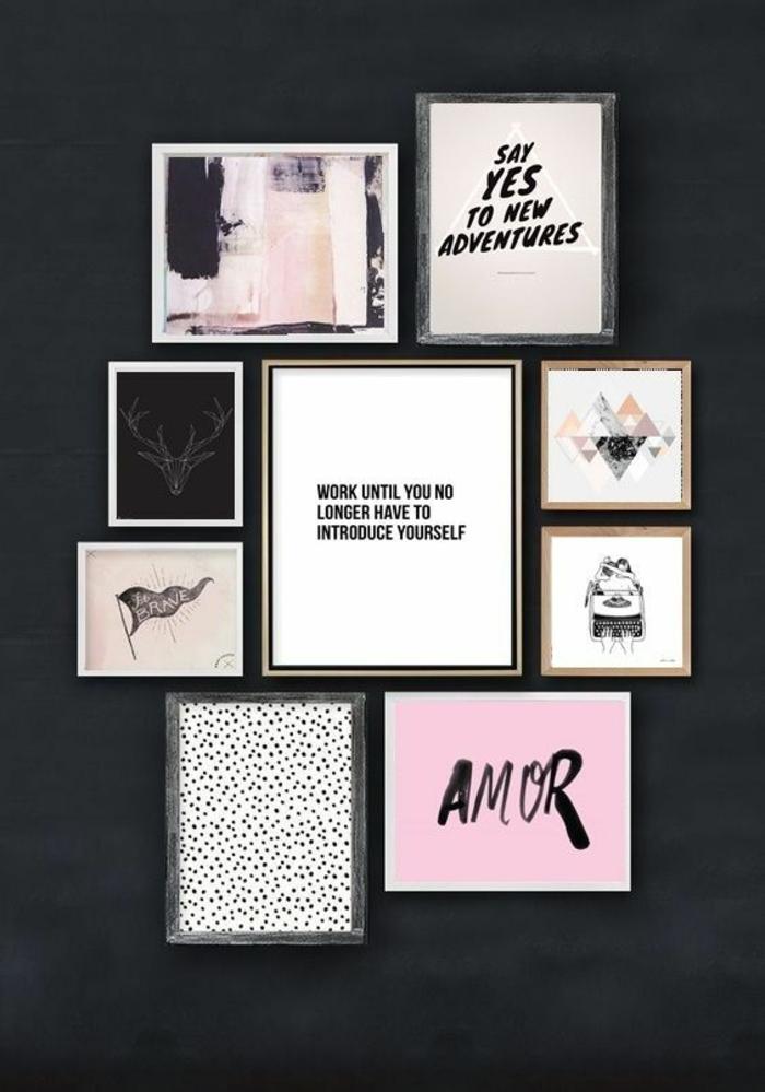 cadre mural, lettres amour, dessins, art print, cadre rectangulaire, mur noir