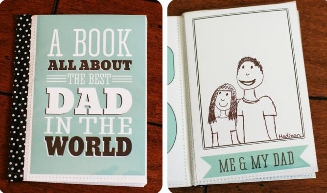 un cahier personnalisé, journal rempli de dessins et de messages, consacré à papa, premiere de couverture personnalisé, printable, cadeau fête des pères