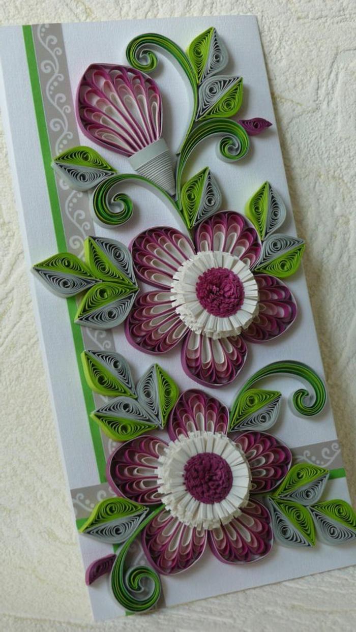 carte de fête des mères, bouquet de fleurs en papier quilling