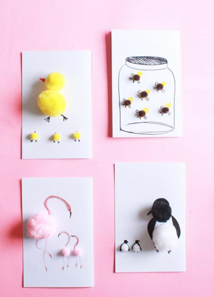 carte des fetes des meres, animaux faits avec pompons collés sur du papier