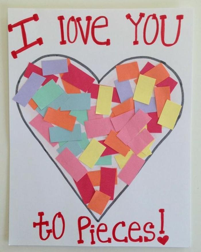 carte fête des mères à fabriquer, grand coeur plein de rectagles en papier décoratif
