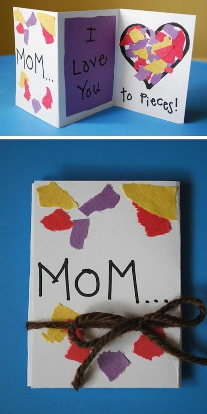 carte fête des mères, un coeur avec plusiuers pièces collés sur la carte