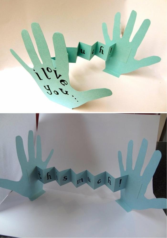 bricolage fête des pères facile, des empreintes de mains en papier, avec des messages personnalisés, écrits au feutre, fabriquer cadeau papa