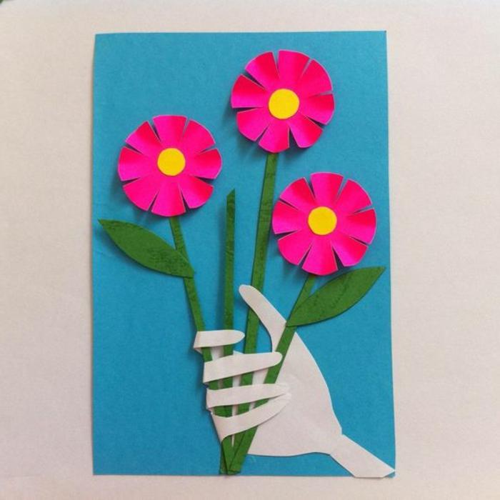carte fete des meres, jolie carte 3d avec des fleurs roses sur papier bleu