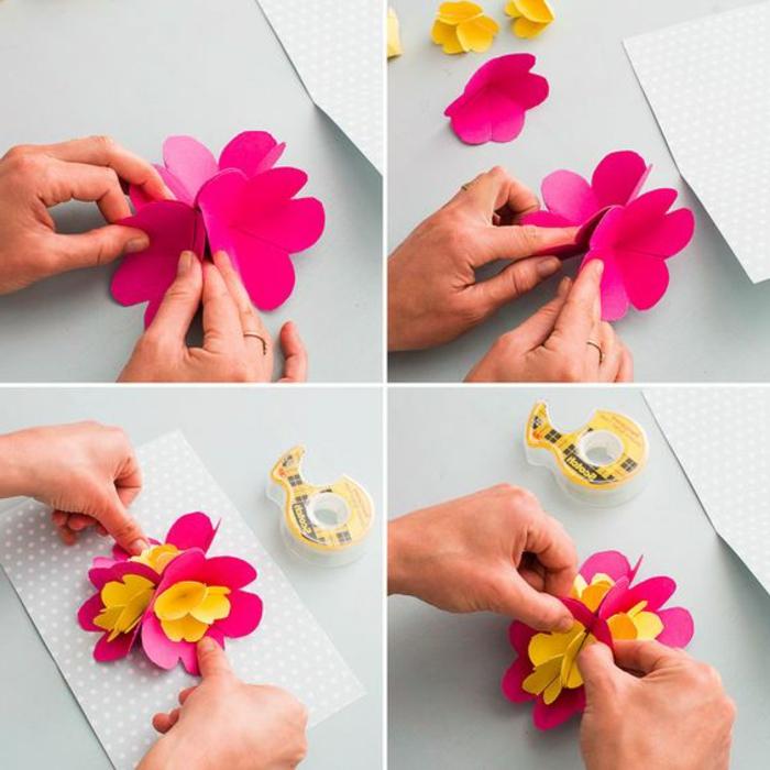 carte fete des meres, carte pop up fleur rose et jaune, cadeau diy à fare soi-même