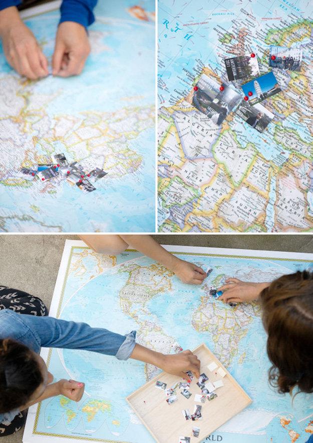 idée comment customiser une carte géographique, épingler les destinations de voyage, activité créative a realiser soi meme
