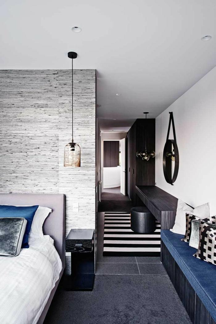 une suspension luminaire cloche en verre, chambre à coucher sophistiquée aux nuances du gris