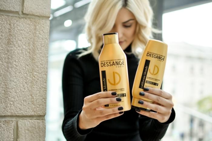 blond californien, produits décolorants, manucure noire, cheveux blonds, Dessange Paris, cheveux blond
