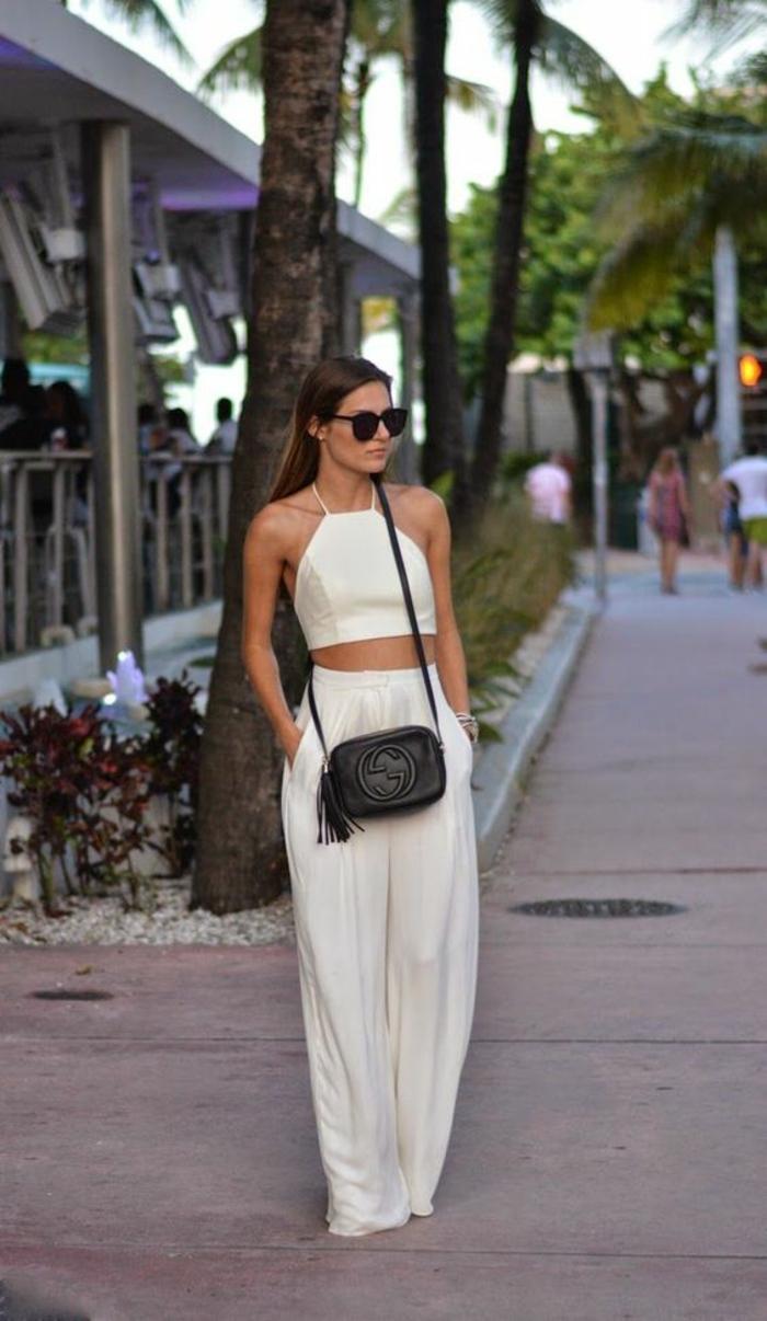 Idée tenue femme tenue de fête femme tenue soiree blanche pantalon et cropped top