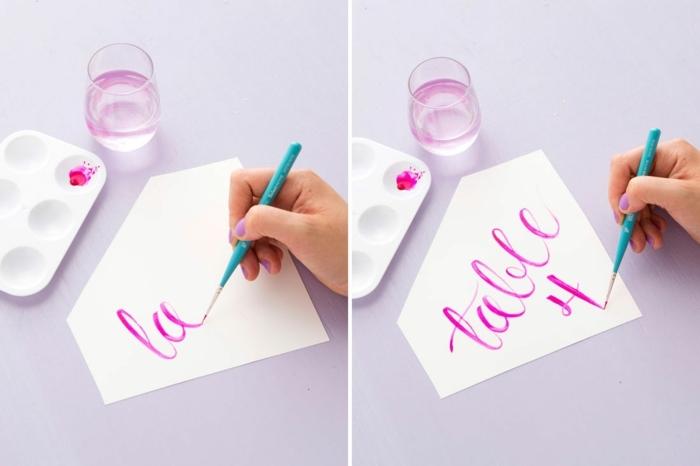 truc cool a faire quand on s ennuie, alphabet calligraphie, récipient en verre, lettre calligraphie, palette, ecriture calligraphie
